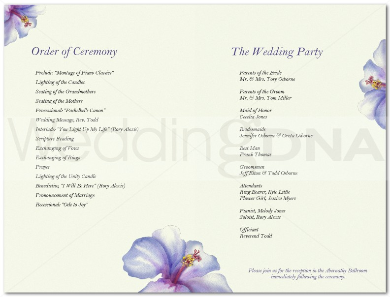 Wedding Program Templates Free - Floral wedding program templates
