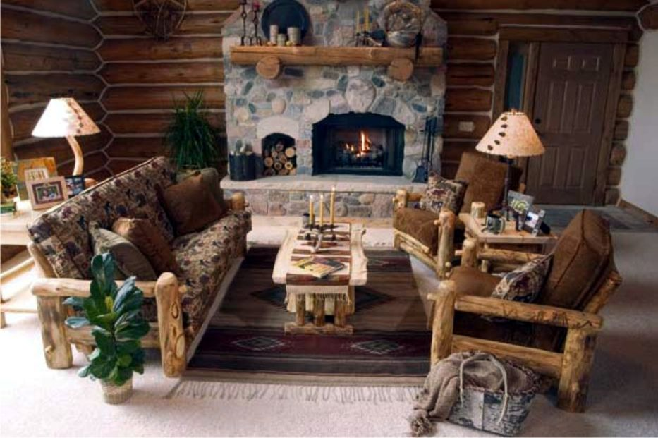 Chic Country Cabin TV Room Modern World Furnishing Designer