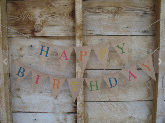 burlap happy birthday banner